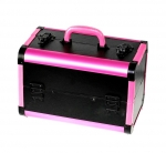 Coffer for cosmetics black-pink leather