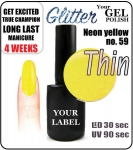 gel polish - smalto - 15ml - Neon yellow (no. 59) glitter