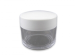 Jar for decorations clear with white cap 10 gr.
